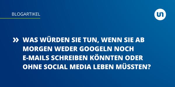 Textbild mit Kurzfassung des im Text beschriebenen Gedankenspiels – Leben ohne Internet.